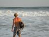 Pete ready for a surf El Tunco Beach, El Salvador
