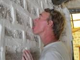 67. Pete licking salt hotel wall